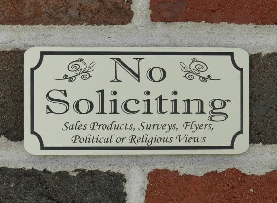 """2.75/"""" x 5.75/"""" No Soliciting Sign Lot of TWO 2"""