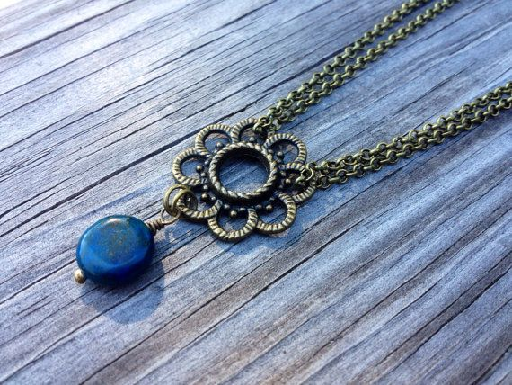 Brass Chain Necklace With Flower Focal and by McHughCreations, $14.95