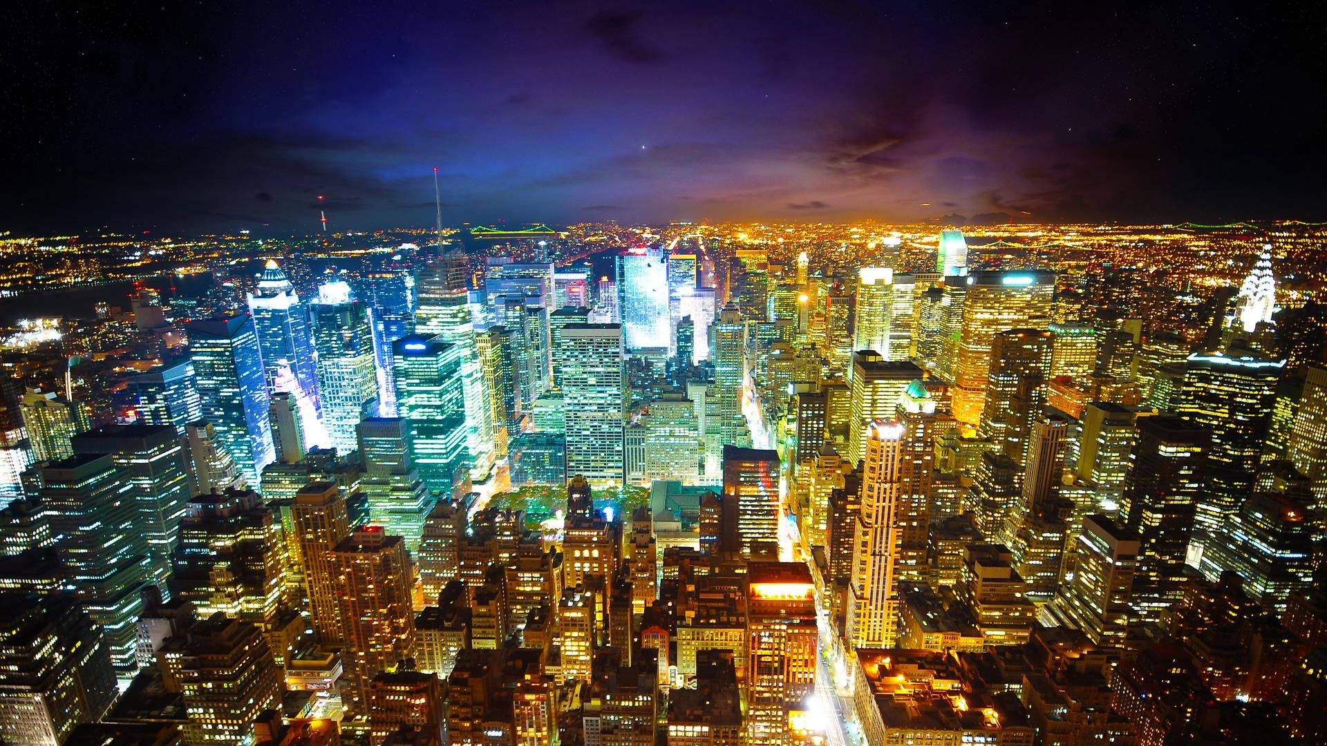New York City Skyline At Night City Lights At Night City Wallpaper Night City