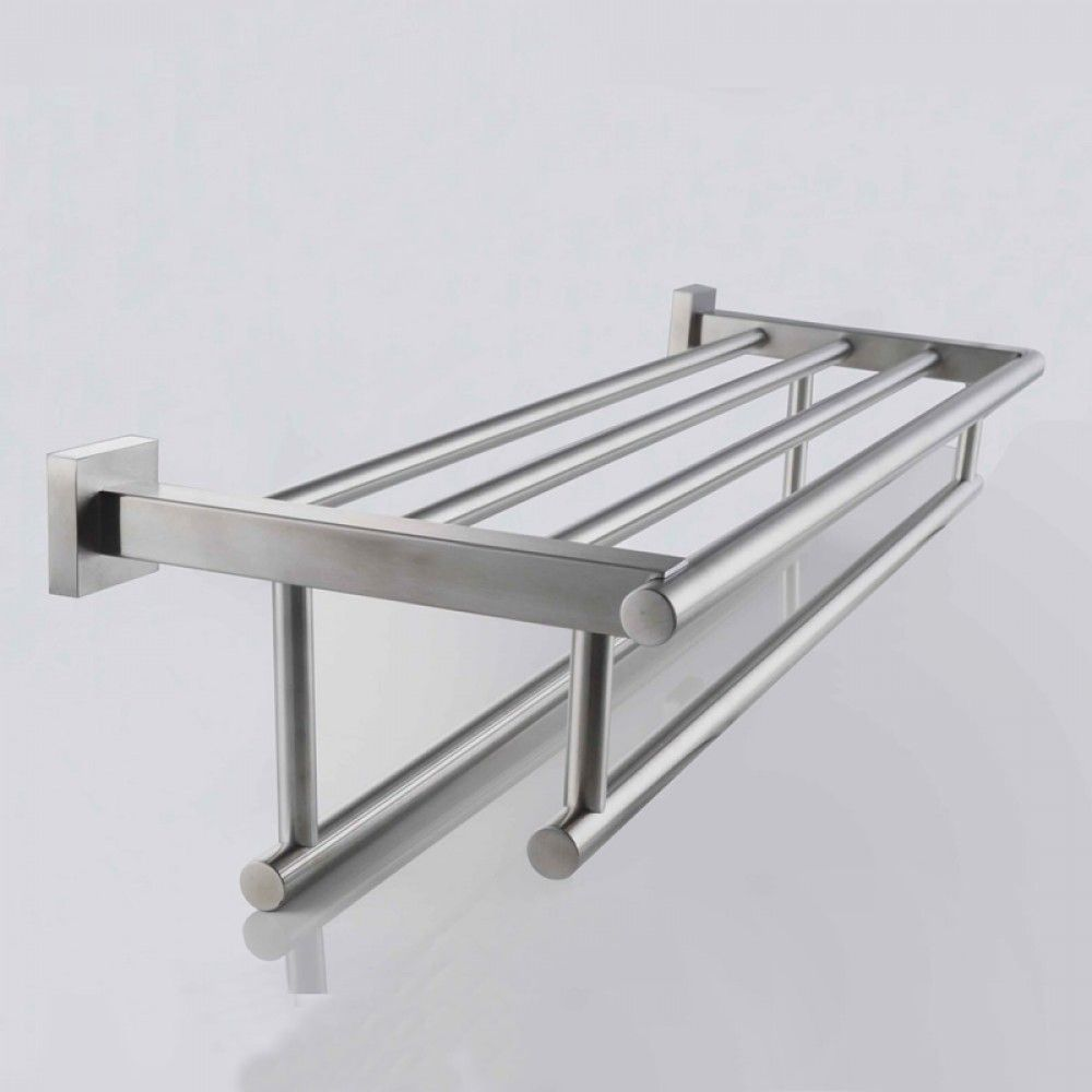 KES Stainless Steel Bath Towel Rack Bathroom Shelf with Double Towel ...