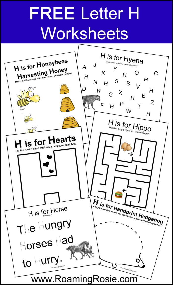 Free Printable Letter H Alphabet Activities Worksheets From Roaming Rosie Kindergarten Letters Alphabet Worksheets Preschool Alphabet Activities [ 1147 x 698 Pixel ]