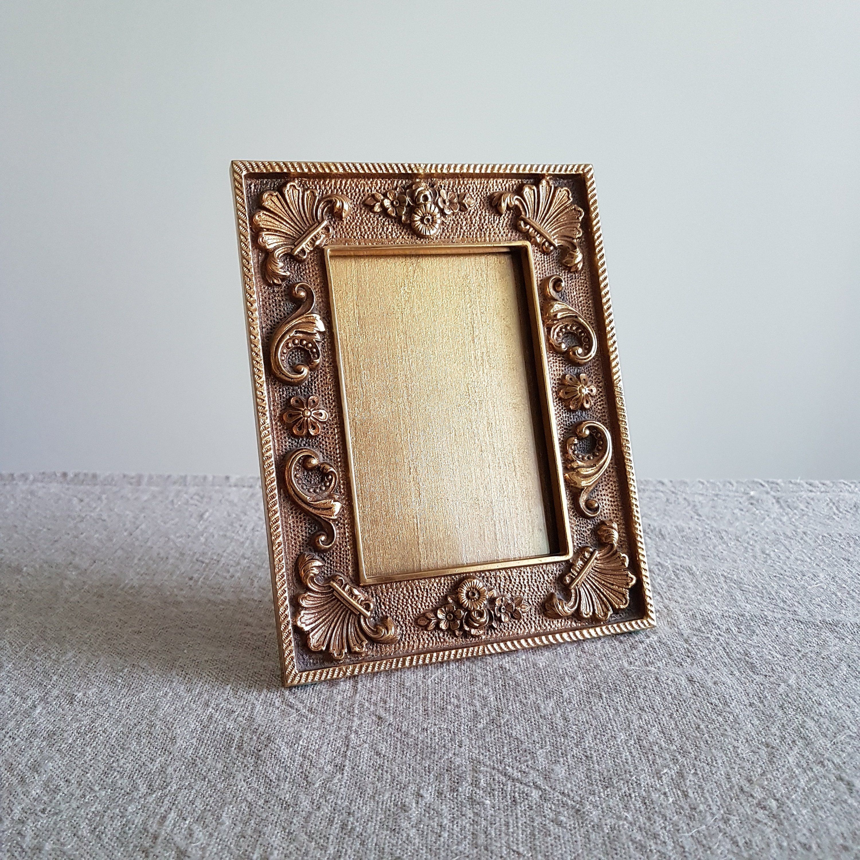 4 X 5 Ornate Cast Iron Picture Frame W Gilt Finish Gold Metal