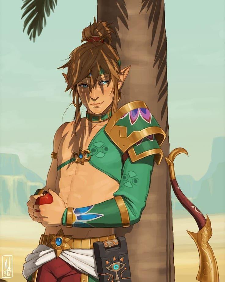 Link In Male Gerudo Outfit Legend Of Zelda Breath Of The Wild Legend Of Zelda Breath Legend Of Zelda Memes Legend Of Zelda