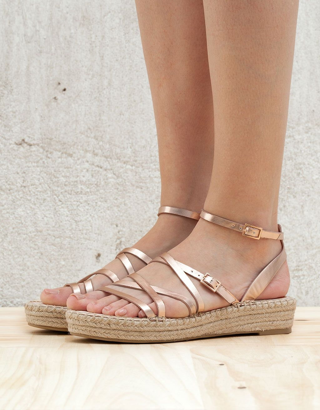 d5e531a27 BSK metallic strappy jute sandals in 2019 | These shoes are made for ...