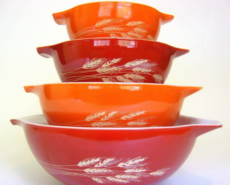 vintage bowls | Pc Vintage Pyrex Mixing Bowl Set, Autumn Harvest ...