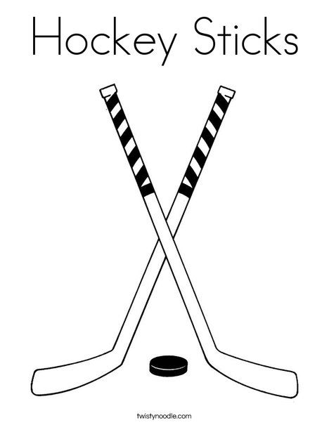 Hockey Sticks Coloring Page Twisty Noodle Hockey Stick Hockey