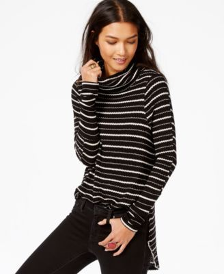 Free People Striped Cowl-Neck Thermal Top