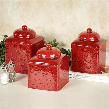Perfect Savannah Red Kitchen Canister Set