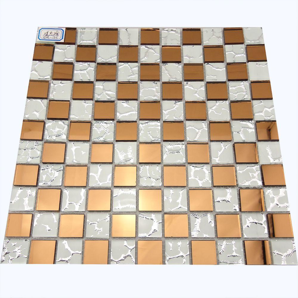 Bianco Cristallo Giallo Mattonelle Di Mosaico Di Vetro Ydm133 Superficie  Dello Specchio