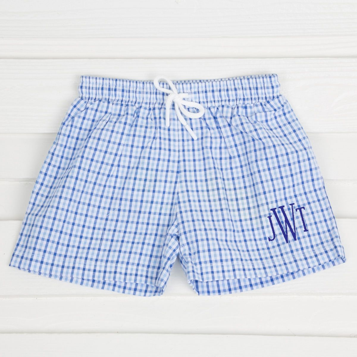 246804edfd This adorable two toned blue seersucker check swim trunk is a great  addition for your little one's wardrobe this season. Cotton blend seersucker .