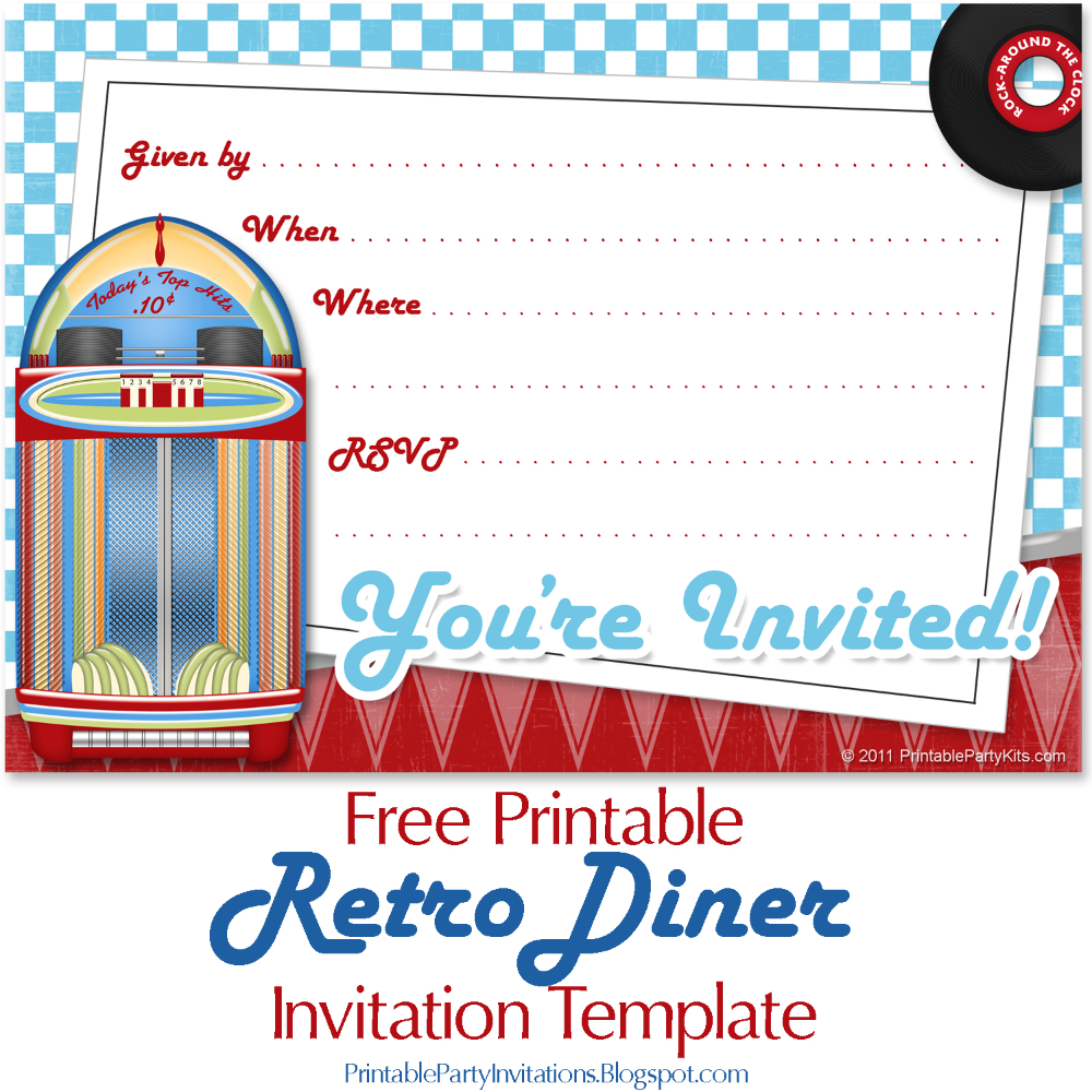 Can T Find Substitution For Tag Post Body Free Invite Art For A 1950s Or Retr In 2021 Free Printable Party Invitations Retro Party Party Invitations Printable