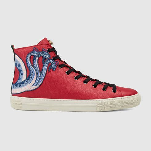 a8fde66c14d99 GUCCI Leather High-Top With Dragon.  gucci  shoes  men s sneakers ...