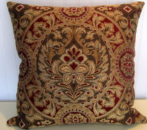 Gold Pillows Decorative Red Brown Throw 18x18 Or 20x20 22x22