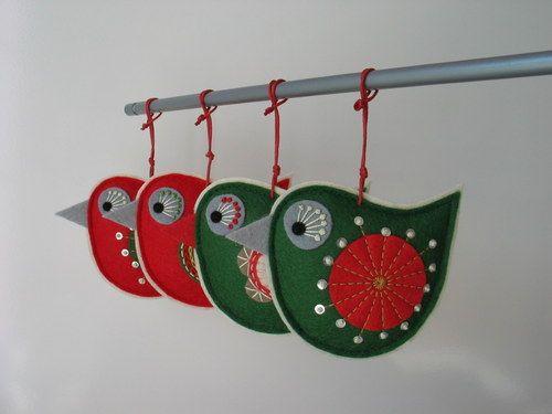Vánoční ptáček červený s flitry / Prodané zboží prodejce š.o.-k | Fler.cz