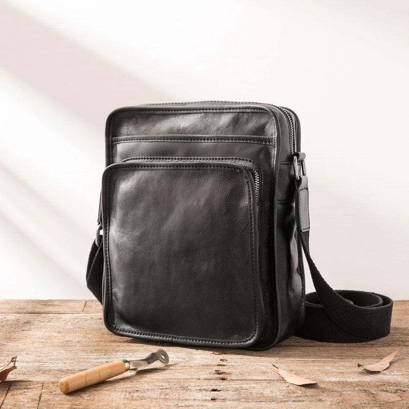Cool Black Small Leather Mens Shoulder Bags Messengers Bag for Men –  iwalletsmen dc373fdf47