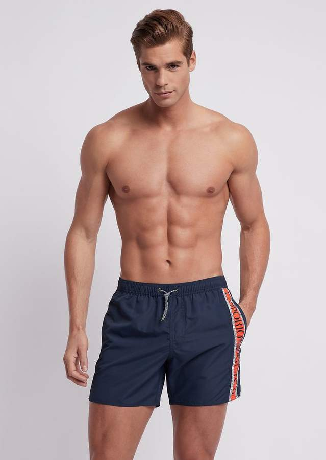 2c52f620bb Emporio Armani Swimming Shorts In Tech Fabric With Logo Band At The Side