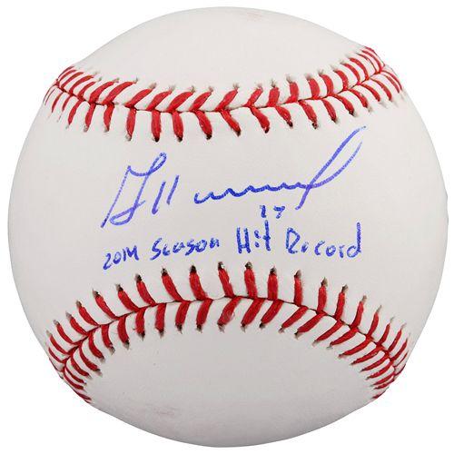 Jose Altuve Houston Astros Autographed Baseball With 2014 Season Hit Record Inscription Atlanta Braves Autographed Baseballs Jose Altuve