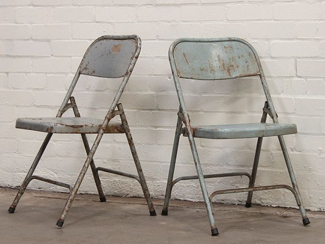 Blue Metal Folding Chairs Thomas The Train Table And Vintage Globally Sourced Furniture All Original Authentic Retro Interior Style