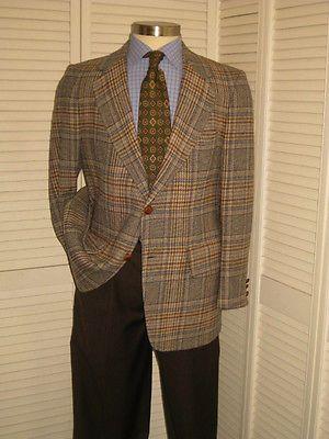 Vtg Pendleton Tweed Mens Brown Glen Plaid Wool Sport Coat
