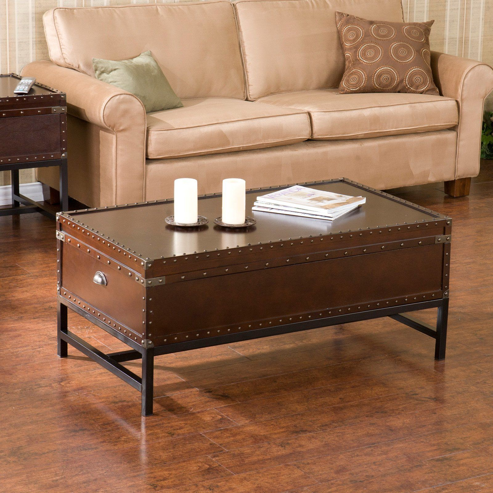 Southern Enterprises Voyager Espresso Trunk Coffee Table Coffee Table Coffee Table Trunk Coffee Table With Storage [ 1600 x 1600 Pixel ]