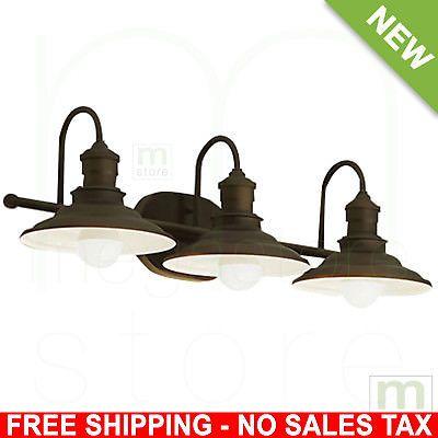 Photo of Bathroom Vanity 3 Light Fixture Aged Bronze Cone Wall Lighting Allen + Roth 7104199806023 | eBay