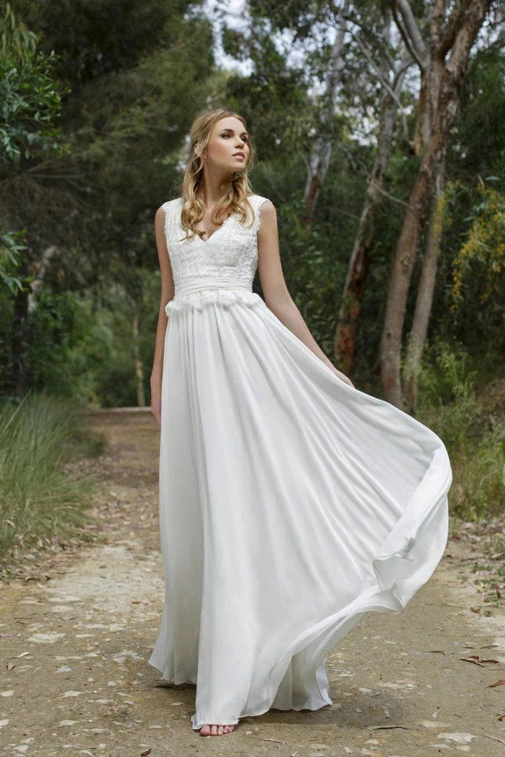 Casual Boho Chiffon Wedding Gown with Lace Vneckline in 2020