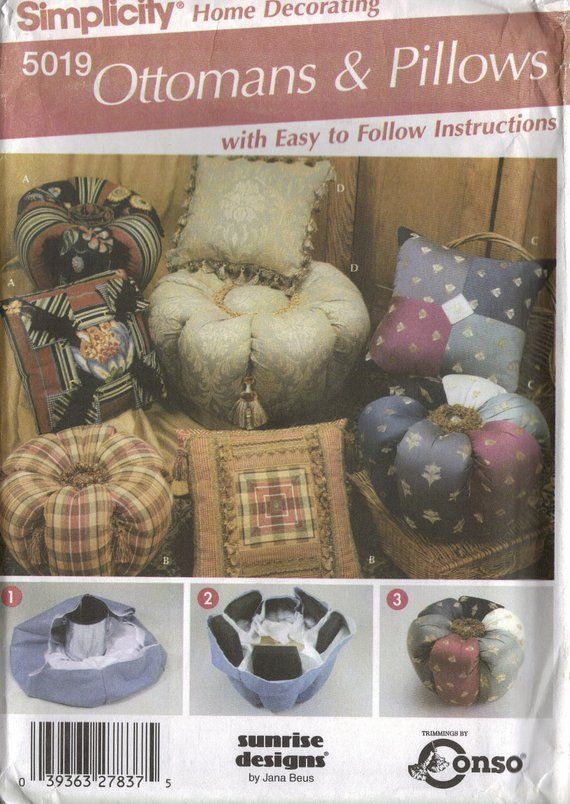 Simplicity Home Decorating Sewing Pattern 5019 Ottomans And Pillows