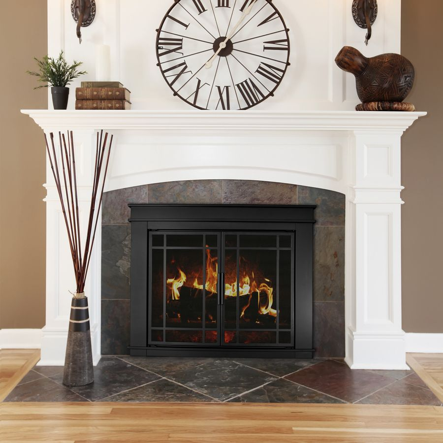 Glass Fireplace Doors Lowes Shop Pleasant Hearth Midnight Black Large Cabinet Style Fireplace