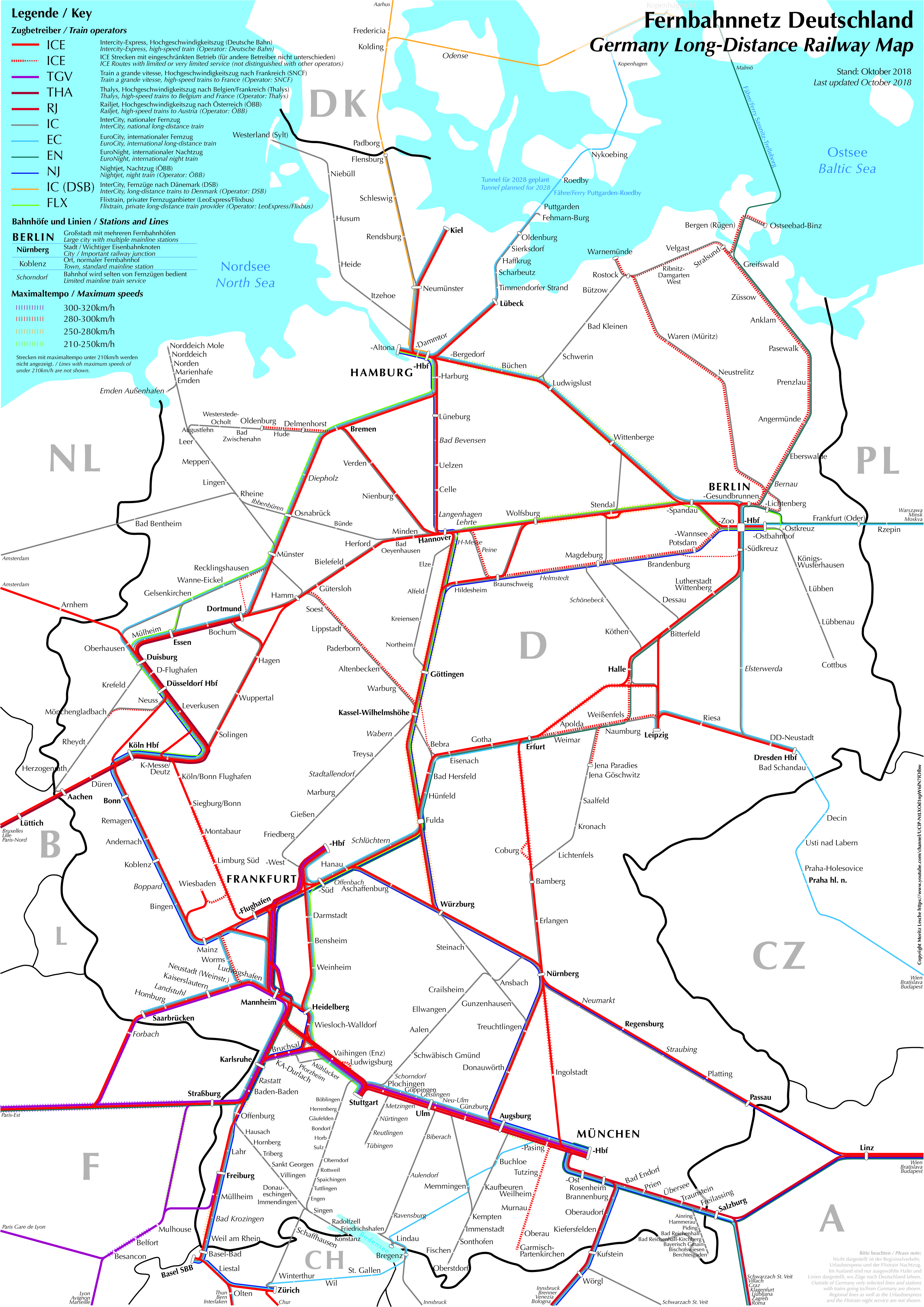 Long Distance Railway Network Map Of Germany Metro Style Map