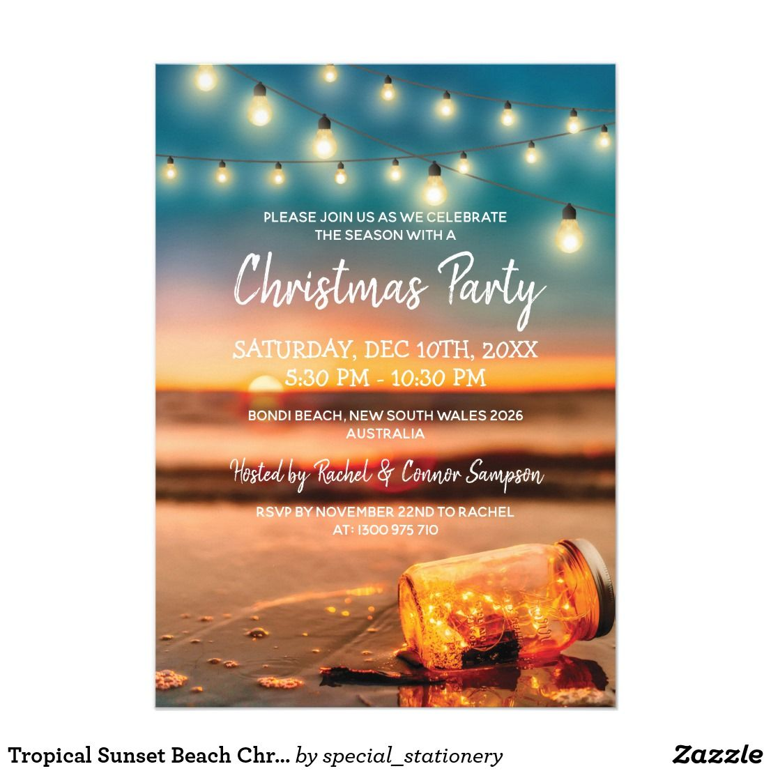 Tropical Sunset Beach Christmas Party Invitations   Zazzle ...
