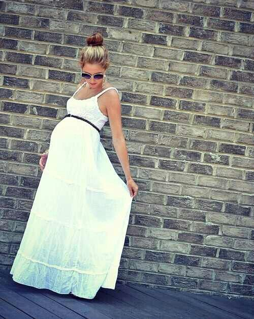 ec67f7ef53e88 Cute. White dress baby shower dress   A bundle of Joy   Maternity ...