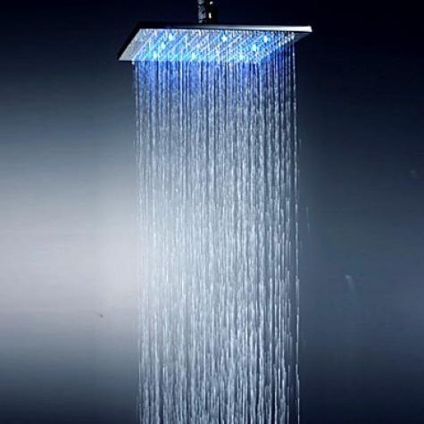 10 Inch Chromed Brass Square Led Rain Shower Head Shower Heads