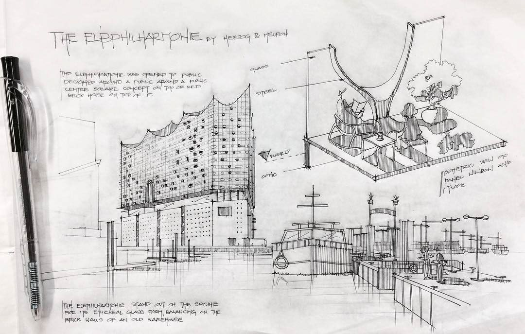 The Elbphilharmonie Illustration Presentation Using Ps On Behance Skizzen Drucktechnik Hamburg
