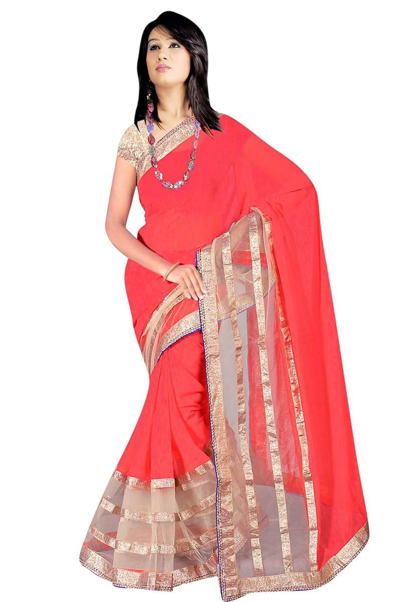Silk saree lehenga red georgette party wear saree  red sarees on variation  pinterest