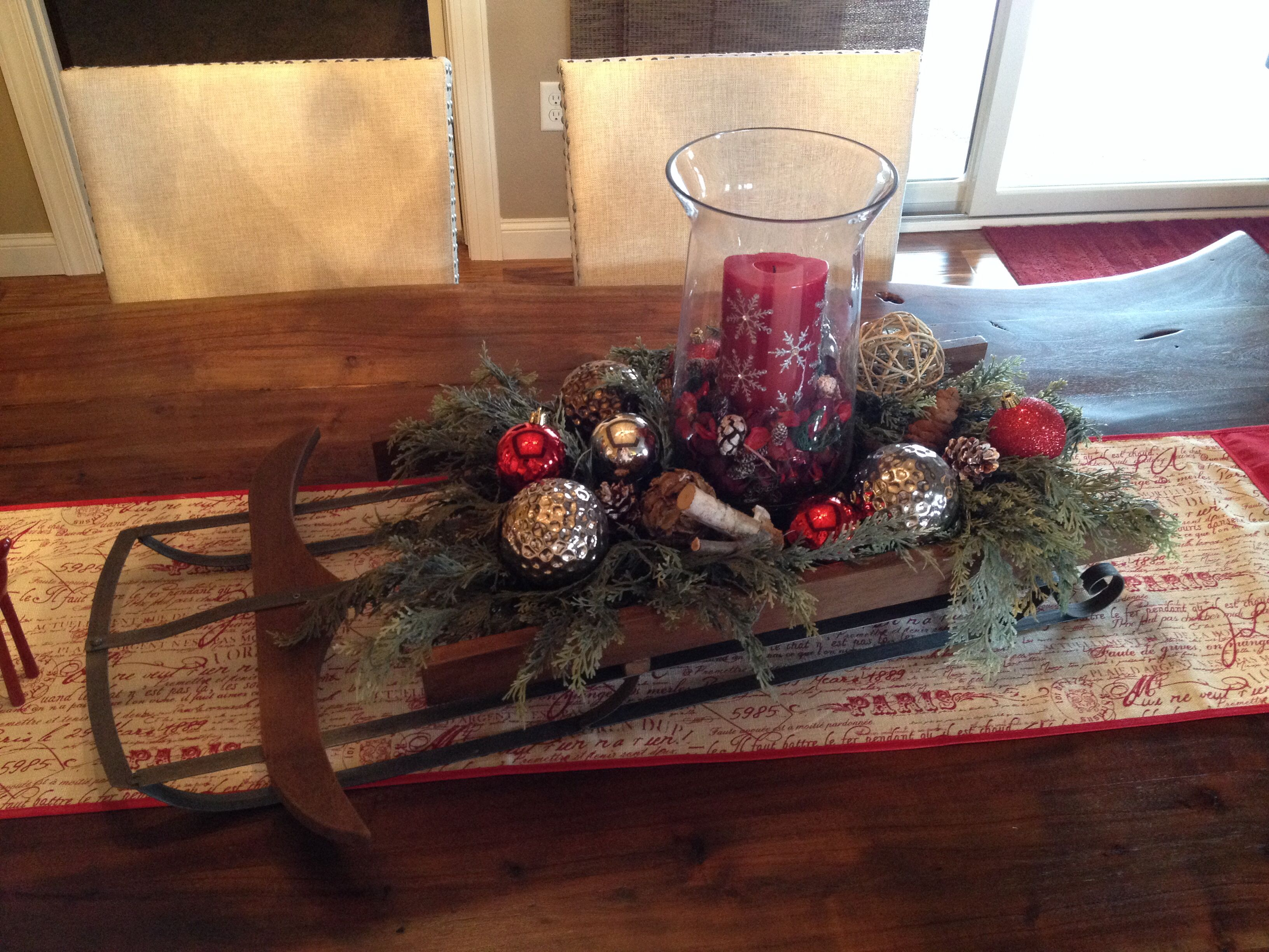 Pottery Barn Sled As Centerpiece Christmas Urns