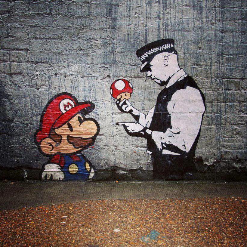 Mario Brothers Street Hat policeman Banksy Art A0 canvas painting Print Wall
