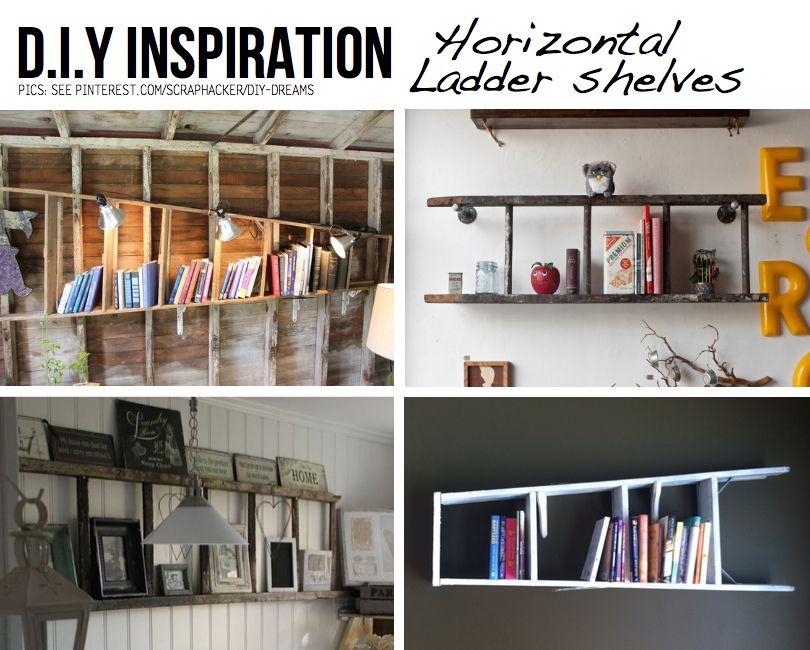 DIY Horizontal ladder shelves - hang a ladder on the wall for instant  shelves