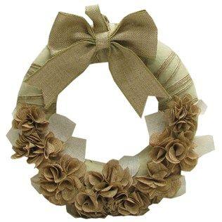 "Bella Vita 16"" Brown Burlap Hydrangea Wreath with Bow | Shop Hobby Lobby"