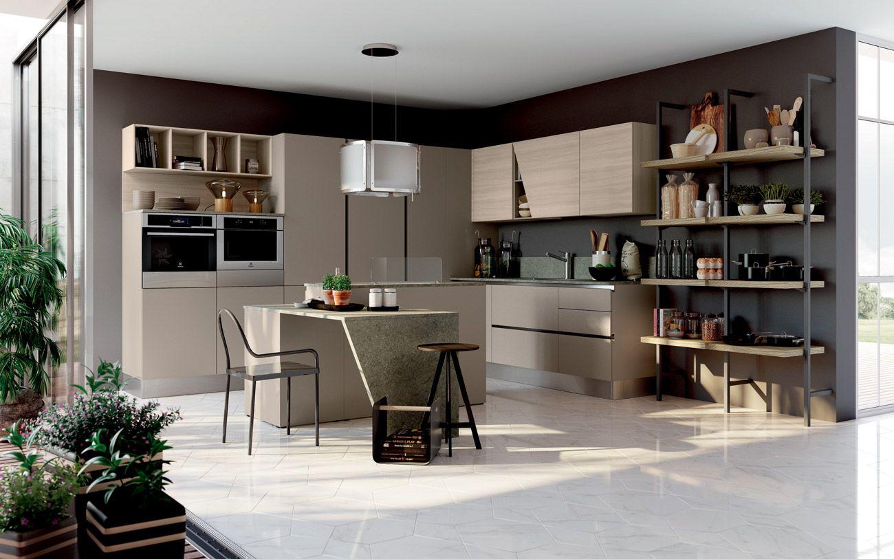 Cucina angolare moderna con isola - Composizione 0582 | CUCINE ...