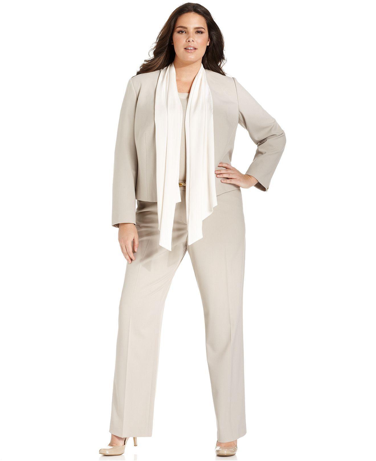Calvin Klein Plus Size Khaki Suit