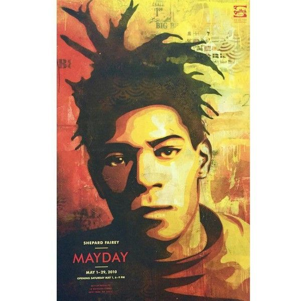 Shepard Fairey Basquiat Exhibition Poster ($101) ❤ liked on ...