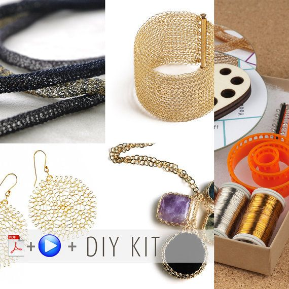 DIY jewelry kit - Beginners wire crochet kit - 4 VIDEO tutorial ...