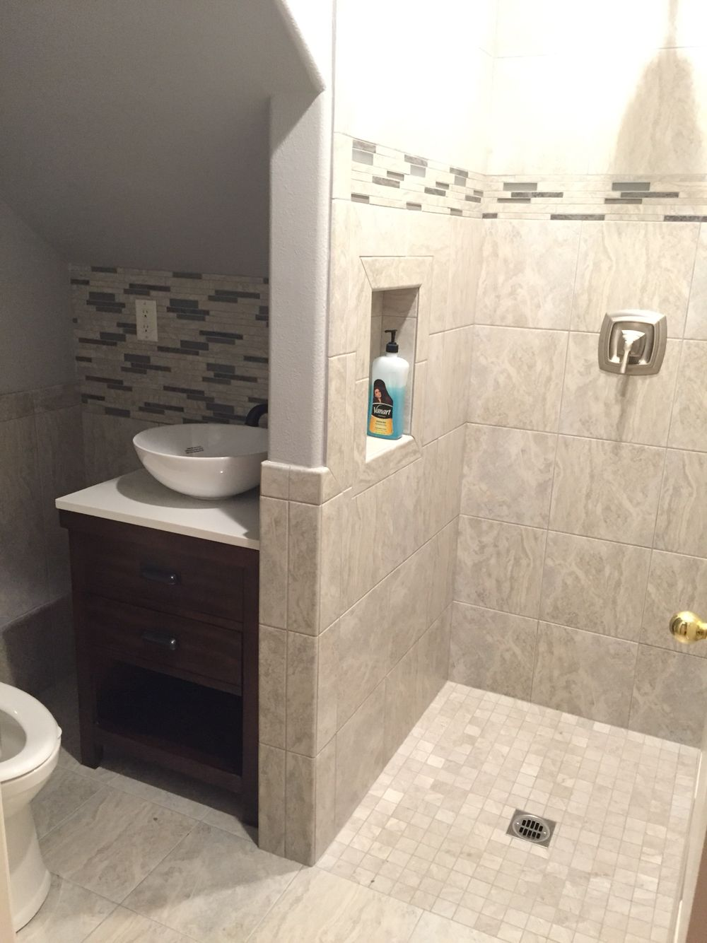 Turned our half bath into 3 4 bath by putting shower in for Tiny bathroom shower ideas