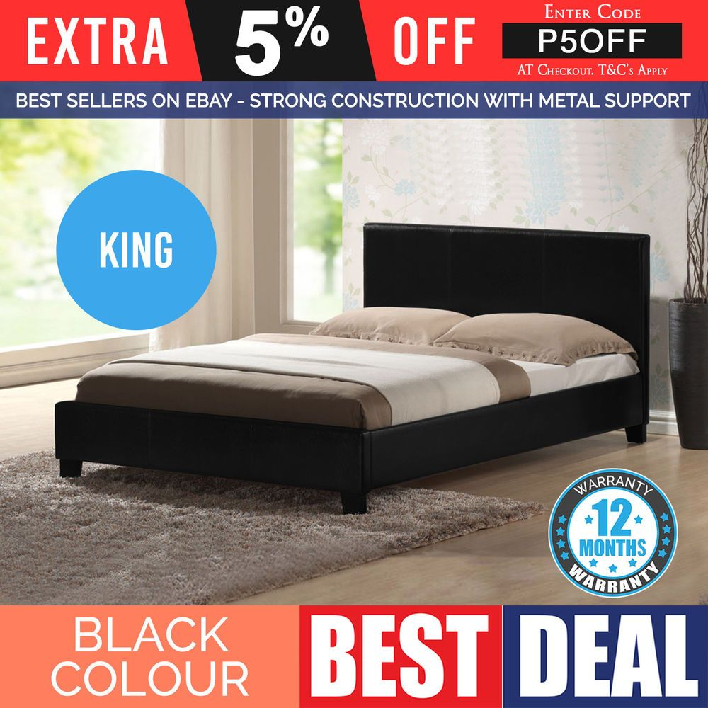 Details About Stylish King Size Bed Frame Black Modern Pu Leather