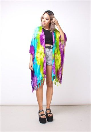 New Open Front Psychedelic Tie Dye Kimono 203CLA4