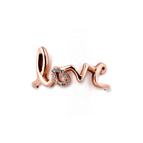 Jacquie Aiche - Love Ring, One Pave Letter 14k Rose Gold
