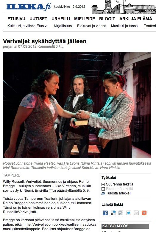 """""""Koko TT:n ensemble työskentelee lukuisissa rooleissaan, aivan pienimpiä myöten, täydellä antaumuksella"""", Olli-Pekka Ulkuniemi kirjoittaa arvostelussaan, joka on julkaistu mm. Ilkassa ja Pohjalaisessa. Jutun kuvituksena käytetyn valokuvan on ottanut © Harri Hinkka. #Veriveljet #Tampere #Teatteri"""