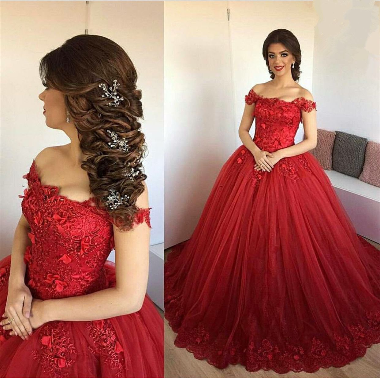 Lace Embroidery Sweetheart Tulle Ball Gowns Prom Dresses 2017 Elegant Engagement