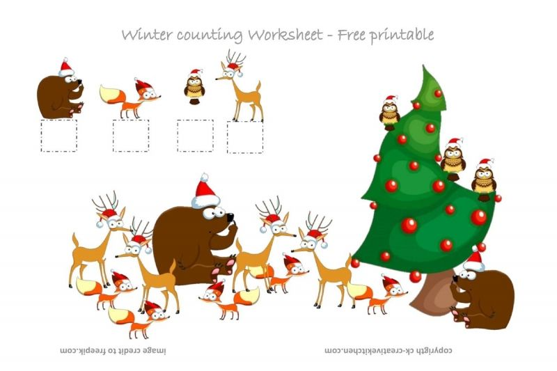 Winter Forest Animals Counting Worksheet - Free Printable