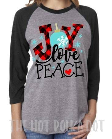 Christmas Holiday Baseball Raglan Joy Love Peace Buffalo Christmas Plaid Festive Holiday Shirt Unisex Vintage Raglan Holiday Party Shirt Christmas Tee Shirts Christmas T Shirt Design Holiday Shirt Ideas